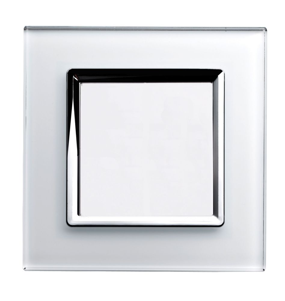 RetroTouch Single Blank Plate White Glass CT 00309